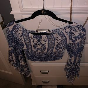 White and blue scrunch top from LF